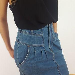 Vintage Skirts - VINTAGE | New Gear High-Waist Denim Skirt